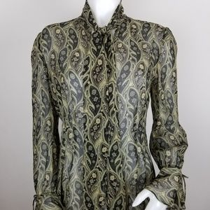 Banana Republic M Silk Paisley Button Down Blouse